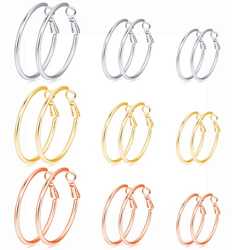 9 Pairs Stainless Steel Hoop Earrings Gold Plated Rose Gold Plated Silver Earrings Set for Women Girls Men,30mm 40mm 60mm (Gold, Silver,Rose Gold)