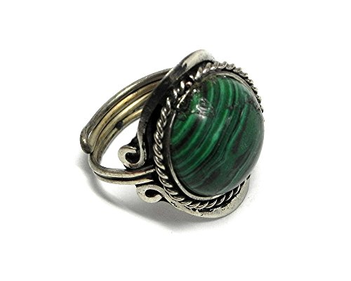 Mia Jewel Shop Natural Semi Precious Round Gemstone Silver Rope Edge Adjustable Ring (Green Malachite)