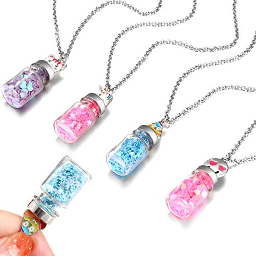 FROG SAC 4 Magical Fairy Dust Glass Bottle Necklaces for Girls - Mini Glass Jar Pendants Necklace Set with Cute Metal Cap Charms - Party Favors and Gifts for Little Girls - Fashion Jewelry (Bottles) ()