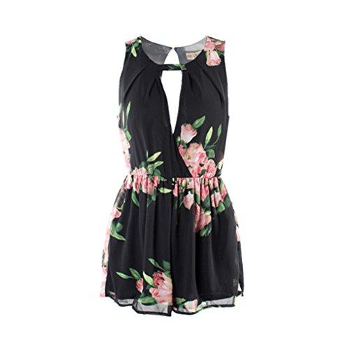 QHGstore Floral impresión corto mono trajes sin mangas mamelucos mujeres Deep V-cuello gasa Playsuit negro