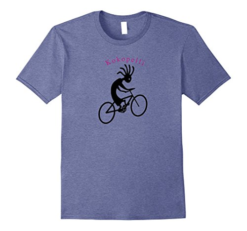 Mens Kokopelli Biking Shirt Native Flute Player Riding His Bike Medium Heather Blue
