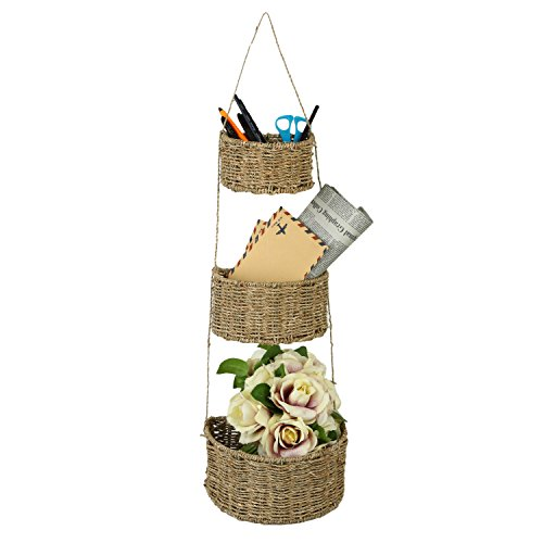 3 Tier Handwoven Seagrass Wall Hanging Nesting Storage Baskets, Brown (Hanging Wall Baskets)