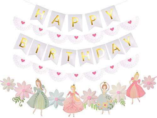 Princess Birthday Decoration   Princess Birthday Banner   Pink Happy Birthday Banner   Pink and Gold Birthday Party Decorations   Princess & Flower shape birthday party banner   white ()