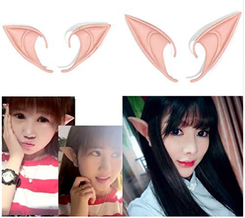 Halloween Party Elf Ears Soft Latex 10/12cm 1 Pair Fairy Cosplay Fake Ears Halloween Decoration Prop DIY Elf Ears (10cm, Flesh) -