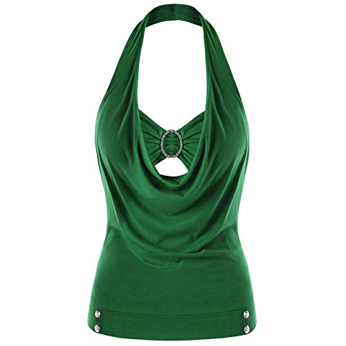 Ladies Fashionable Plus Size Embellished Halter Neck Tank Tops for Women from Nextmia