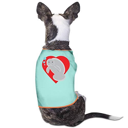 Manatee Heart Puppy Costumes Pet Sleeveless Tops Jacket Sweater -