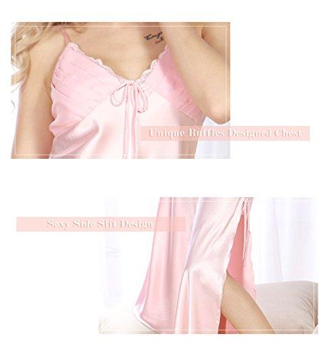 Surenow Camisón Picardías Babydoll Ropa Interior Lencería Pijama Larga de Tirantes de Satén Dobladillo Abierto V Profundo para Mujer Rosa
