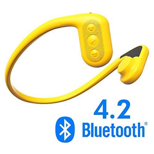 Tayogo Auriculares conducción ósea con Bluetooth para Nadar Open-Ear (Orejas Libres) Reproductor MP3 con Radio FM Bluetooth 4,2 App 8GB de Memoria para Nadar y Deporte con Estuche de Transporte