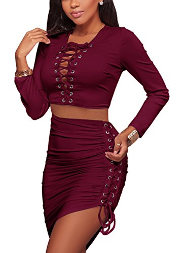 Bluewolfsea Womens Sexy Lace Up Crop Top Mini Skirt Outfit Two Piece Bodycon Dress Large Burgundy (Skirt Top Outfit)