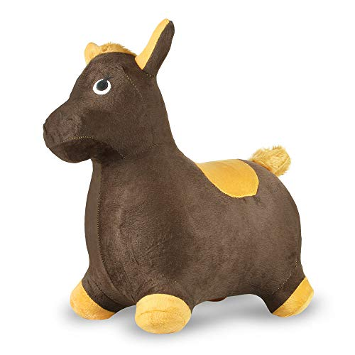 (Chromo Bouncy Hopping Toy, Ride On Animal Hopper, Cute Animal Inflatable Jumper, Washable Plush Cover, Pump Included, Activity Gift for 2-5 Year Old Kids Toddlers Boys Girls (Horse Brown/Mustard))