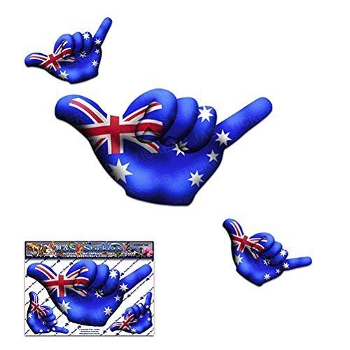 (Small AUSTRALIA FLAG Aussie HANG LOOSE Shaka Friendship Funny Car Stickers Decals - ST00055AU_SML - JAS Stickers)