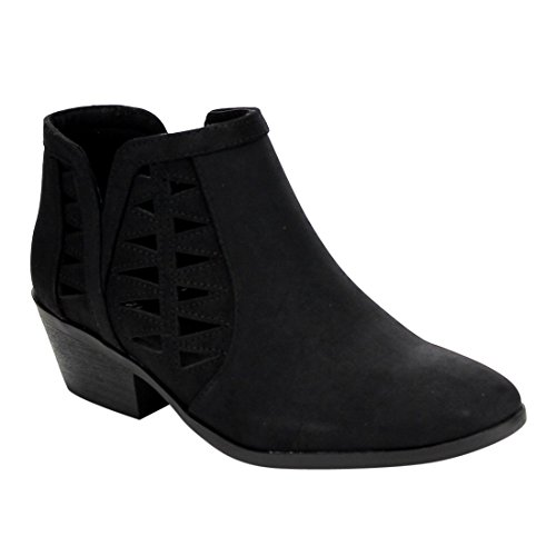 SODA Women's Perforated Cut Out Stacked Block Heel Ankle Booties Black -