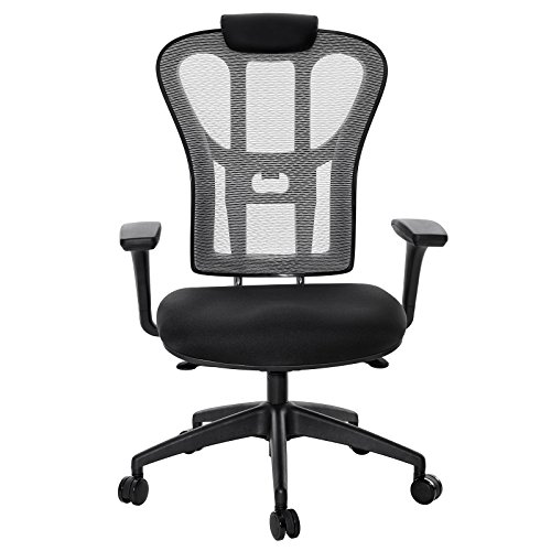Absolute Black Color - SONGMICS Office Chair Swivel, Ergonomic Mesh Chair, Breathable, with 3D Adjustable Armrests, More suitable for the Big and Tall, UOBN64BG