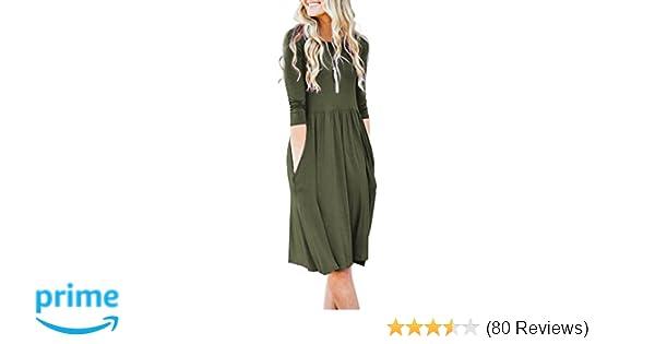 efa386bc35e5 NENONA Womens Long Sleeve Pocket Empire Waist Pleated Loose Swing Casual  Flare Midi Dress
