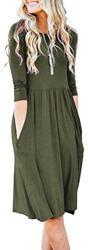 Empire Long Sleeve (NENONA Womens Long Sleeve Pocket Empire Waist Pleated Loose Swing Casual Flare Midi Dress (Army Green-XL))