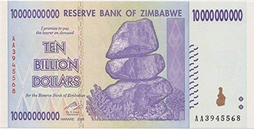 Zimbabwe 10 Billion Dollars 2008, World inflation record, currency banknotes P85 by RBZ (Zimbabwe Currency Circulated)