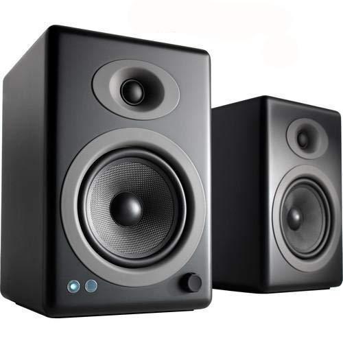 Audioengine A5+ Wireless Bookshelf Speakers. Stream Pandora, Spotify, Tidal or Your Favorite app with aptX HD in High Resolution (Bluetooth-Wireless, Black)