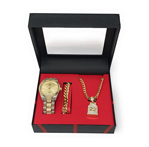 Men's Hip Hop Two Tone Gold and Silver Watch and Iced Out 23 Jersey Pendant with Bracelet and Gold Chain Gift Set (Pendant Set Watch Silver)