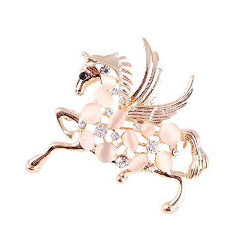 - BELUCKIN Gorgeous Opal Crystal Galloping Horse Equestrian Animal Brooch Pin (Gold)