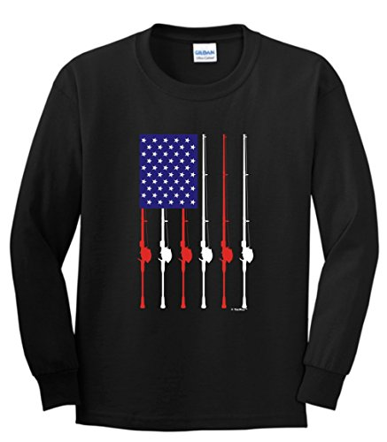 Mud Flap Flag American (Funny Fishing Shirts for Women Patriotic Fishing Pole American Flag Youth Long Sleeve T-Shirt Small Black)