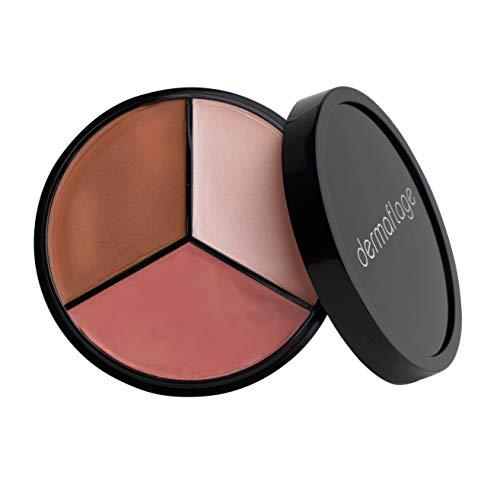 Cheek Palette: Bronzer, Highlighter, Blush Palette for Dewy Skin, Lit from Within by Dermaflage, 10g/.35oz