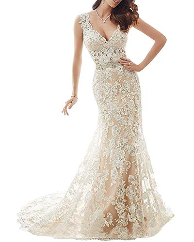 HelloLadyBridal Womens Lace Mermaid Wedding Dresses for Bride 2018 Illusion Back Bridal Gowns Champagne 12