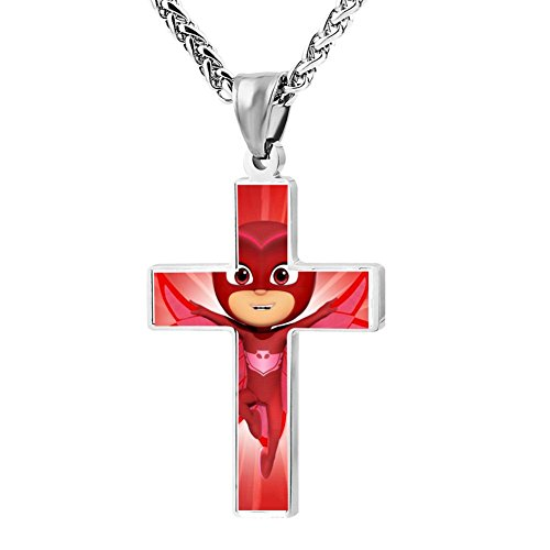Price comparison product image B45RFH4DF5 Top Red Super Owl Eyes_PJ-Masks Metal Religious Zinc Alloy Stainless Cross Crucifix Necklace
