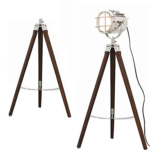 Hollywood Style Studio Floor Lamp Decorative Tripod Spotlight Nickel Chrome Silver Polished and Brown Tripod ()