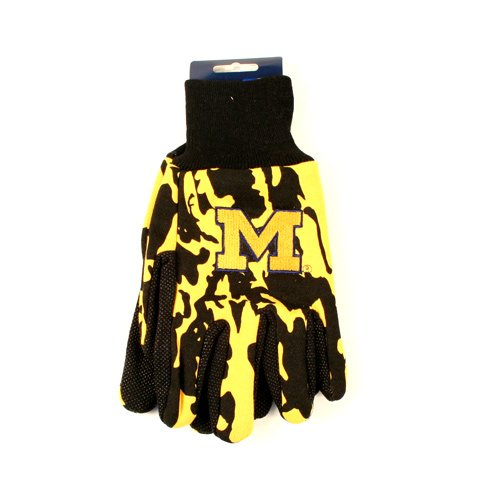NCAA Michigan Wolverines Camo Gloves, 2-Pack, Yellow/Black - Michigan Wolverines Camo