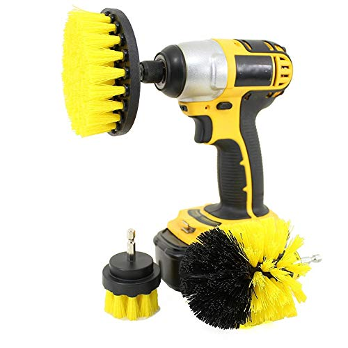Drill Brush Attachment Set – Power Scrubber Brush Cleaning Kit – All Purpose Drill Brush for Bathroom Surfaces, Grout, Floor, Tub, Shower, Tile, Corners, Kitchen, Automotive, Grill – Fits Most(Yellow)