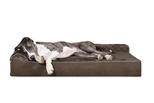 FurHaven Pet Dog Bed | Deluxe Orthopedic Goliath Quilted L-Chaise Couch Pet Bed for Dogs & Cats, Espresso, 4XL