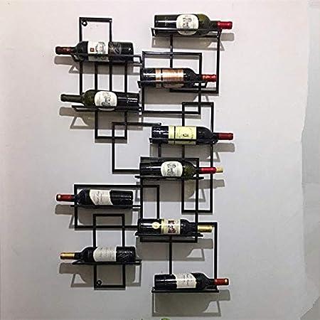DW007 Botellero para Vino De Pared 9 Botellas En Metal Restaurante Bares Vinoteca Cocina Porta Botellas Montaje En Pared 60 * 11 * 110Cm,Negro