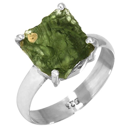 Natural Czech Moldavite Gemstone Ring Solid 925 Sterling Silver Latest Jewelry Size 8