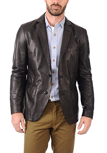 Leather Lifestyle Men's Genuine Lambskin Leather Blazer Brown Button Fly Satin Linings MB23