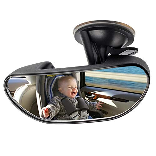 (Baby Mirror for Car, GES Rear View Mirror 360 Degree Adjustable Strengthen Suction Cup Mirror for Car (5.9× 2.2Inch) - Black)