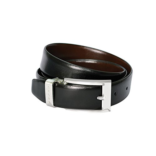 Cross Men's Genuine Leather Belt with Chrome Buckle - Black/Brown (Large)