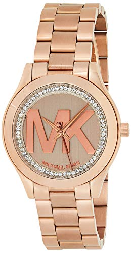 Michael Kors Women's Mini Slim Runway Logo Rose gold-Tone Watch MK3549