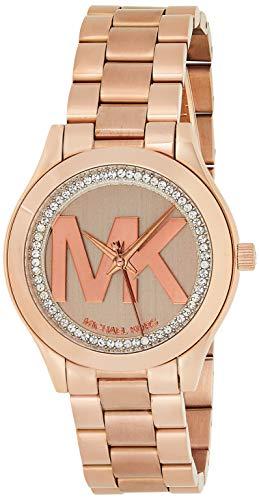 Michael Kors Women's Mini Slim Runway Logo Rose gold-Tone Watch MK3549