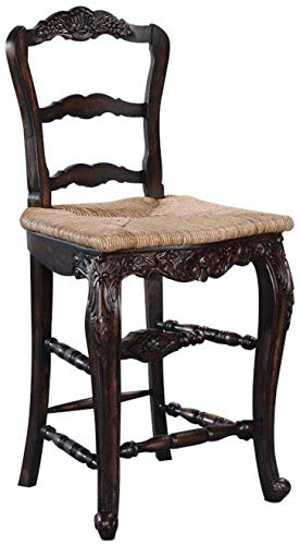 EuroLuxHome Counter Stool French Country Farmhouse Distressed Walnut Wood Carving Rush Seat