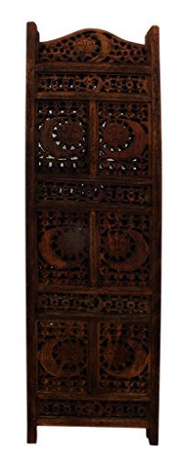 Benzara BM34821 Hand Carved Sun And Moon Design Foldable 4-Panel Wooden Partition Screen/Room Divider, Brown