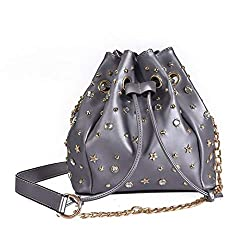 Luxury Riveted Bucket Ladies Leather Bag