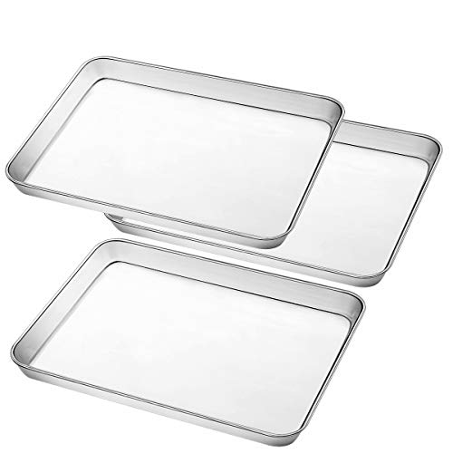 Umite Chef Stainless Steel Baking Pan, Large Cookie Sheet Set for Toaster Oven Tray Pans, Superior Mirror Finish, Easy Clean, Dishwasher Safe, 12 x 10 x 1 inch, 3 Piece/Set