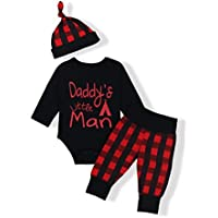 Oklady Baby Boys Girls Clothes Daddy's Little Man Print Bodysuit Outfits Clothes Set With Hat