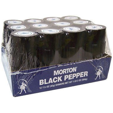 Morton Shakers, Black Pepper, 1.5 Ounce (Pack of 12)