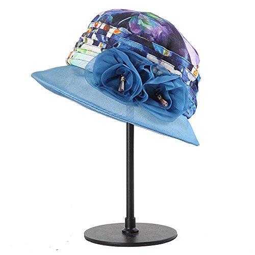 De Coreano Ying Mujer Seda Xinguang color Azul Plegable Protector Alto Solar Negro Sombrero Para Verano Grado ERqzRF