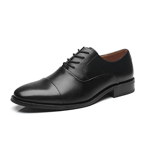 La Milano Mens Cap Toe Oxford Leather Lace Up Classic Comfortable Modern Formal Business Dress Shoes for Men, Varsity-1-black, 9.5