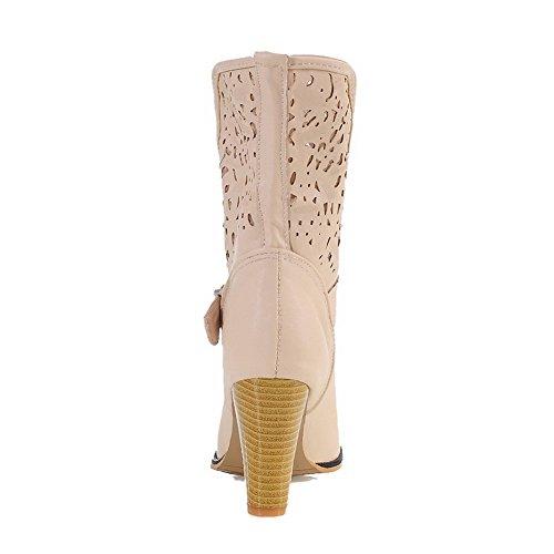 de mujer la superior parte alto PU Allhqfashion Botas tirantes en con de tacón de beige U1wZqga