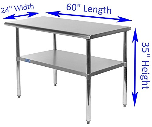 AmGood Stainless Steel Work Table with Undershelf | Food Prep NSF | Utility Work Station | All Sizes (60