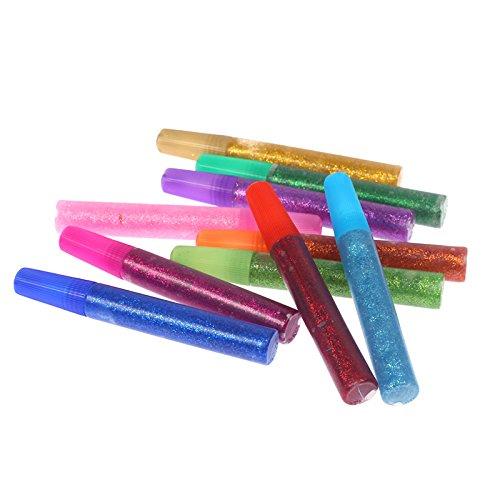 Stylo à encre gel 10pièces Xshelley Set-gel Couleur stylos Flash Poudre Flash Colle Paillettes Colle