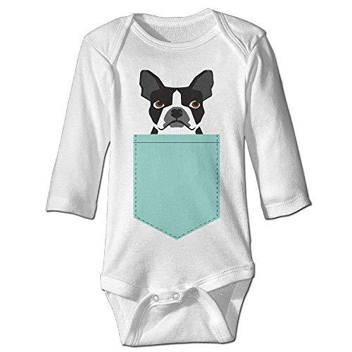 Wishesport FUNINDIY Infant Boston Terrier and French Bulldog Unisex Baby Onesie Bodysuit Long-Sleeve White
